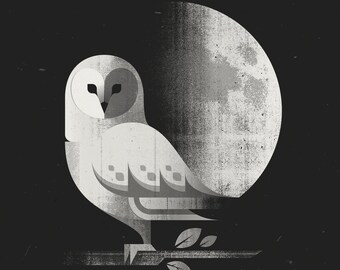 "Barn Owl Print, Printed on 100% Recycled French Paper, 100 lb. Cover Stock, 12"" x 12"""