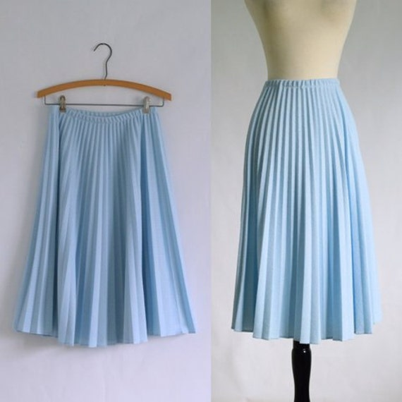 Baby Blue Skirt Accordion Pleated Skirt Vintage Midi Skirt