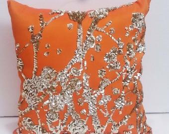 orange gold sequins pillow;abstract contemperary pillow;home deco;accent pillow;bed pillow;decorative pillow;modern cushusion;art pillow