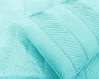 skyblue, pleated cal king size coverlet,114x120inches with pillows 20x36 inches,modern bedding ,solid colour bedding