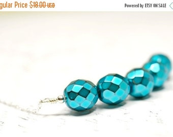 SALE Sparkly Turquoise Necklace, Metallic Blue Beaded Bar Necklace Modernist Necklace Sterling Silver Dark Aqua, Minimalist Blue Cluster Nec