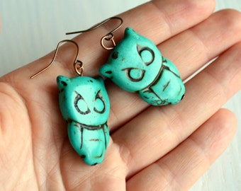 Owl earrings Turquoise blue owl earrings Bohemian earrings Boho jewelry Gifts for her Angry owl earrings Large owls earrings Owl jewelry