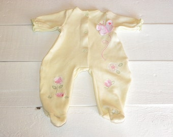 Pretty Yellow Footed Sleeper - 16 - 18 inch doll clothes