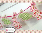 Easter bunting machine embroidery design. Made in the hoop, STANDING bunny shape ONLY. Made ITH embroidery. Easter embroidery project