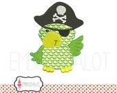Pirate machine embroidery design. Cute pirate parrot embroidery. Fun pirate embroidery with a cheeky touch. Great boys embroidery.