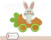 Easter bunny machine embroidery design. Funny bunny embroidery with carrot car. Great fun easter embroidery.