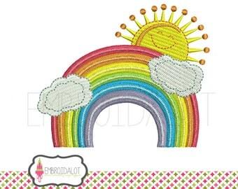 Rainbow machine embroidery design. Happy sun with rainbow embroidery. Clouds, sun and rainbow.
