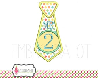 Tie applique embroidery design. NUMBER 2 ONLY ! Cute tie 2nd birthday embroidery. Fun applique in 4 sizes. Great birthday applique design.