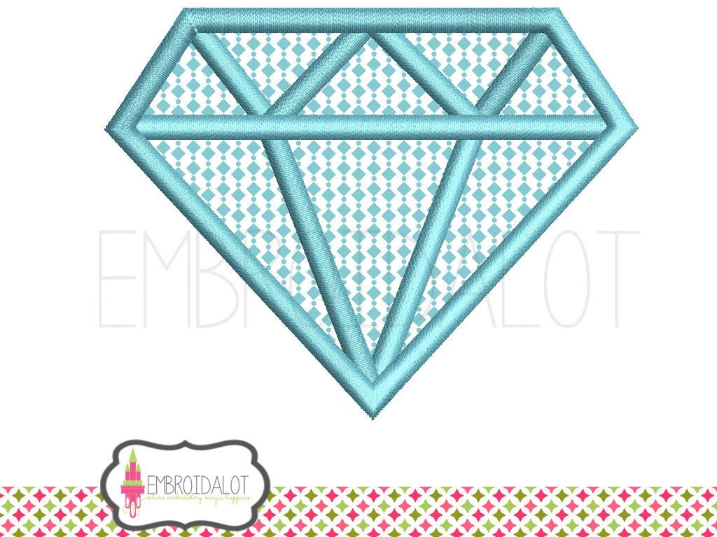 Diamond applique embroidery design. On trend geometric diamond