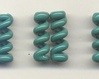 Tom's lampwork opaque petrolium green twist cylinder, drops, spacers 20mm, 2 beads, 1 pair, 97449-1