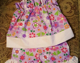 Custom-made Lavender floral with polka dots pillowcase ruffle short dress set