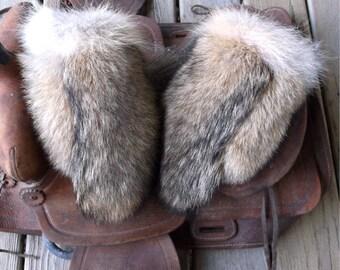Coyote fur mittens handmade medium with red fleece liner