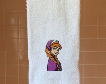 Anna from Frozen embroidered on white hand towel