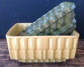 Vintage Maize Yellow and Olive Green Planters
