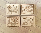 """Discontinued-Japanese Wooden Rubber Stamp from Chamil Garden / Little Path - """"Tea Time"""" Series for invitation, card making, scrapbooking"""