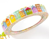nami nami slim Die-Cut Japanese Washi Masking Tape / 8mm Colorful Little Town Street for scrapbooking, packaging, invitation, card making