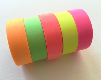 Fluorescent color Japanese Washi Masking Tape set of 5 / Hot Red, Green, Pink, Orange and Yellow (15m Long, 50 percent more)