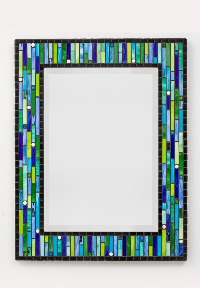 Modern Mosaic Wall Mirror Aqua Cobalt Green