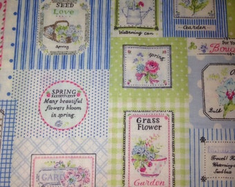 Yuwa Live Life Fourson Garden flower patchwork in blue and lime green - quilting cotton
