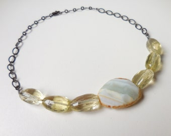 Lemon Quartz and Agate Stone Statement Necklace with Black Gunmetal Chain