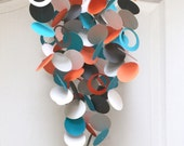 Baby Mobile in Aqua / Turquoise, Orange, Grey, and White, OR Custom colors, modern mobile, Crib mobile, baby room