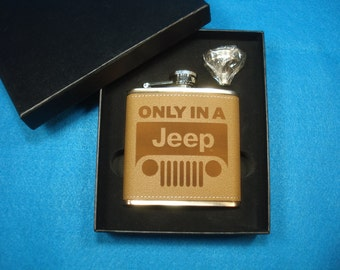 Jeep Leather Flask and Funnel Gift Set - Great gift for a Jeep lovers!