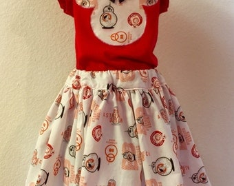 Star Wars BB8 twirly skirt & shirt set, perfect for Disney, birthday parties, and Star Wars viewings!