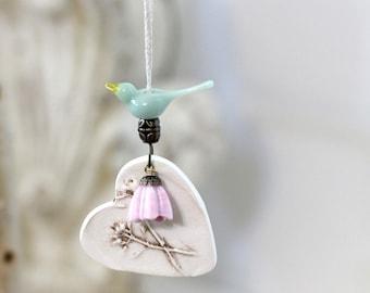 Bird ornament, Ceramic heart ornament, Pottery heart ornament, Rustic tree ornament, gift tag