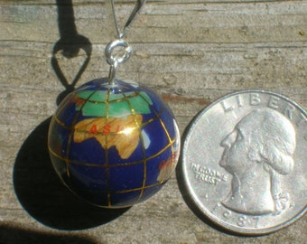 20mm  Lapis COLOR Multi Gemstone Inlay Sterling Silver Globe Pendant Necklace