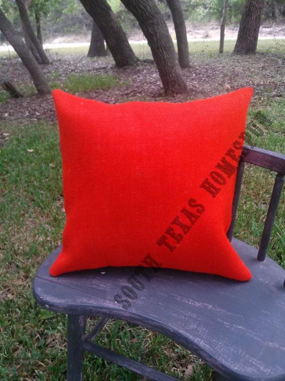 Orange Burlap Pillow Cover 15 X 15 Case By Southtexashomespun