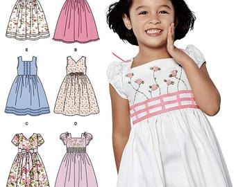 Girls' Classic Dress Pattern, Little Girls' Dress Pattern, Sz 3 to 8, Simplicity Sewing Pattern 1452
