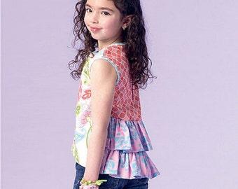 Girls' Peplum Tops Pattern, Girls' Ruffle Tops Pattern, McCall's Sewing Pattern 7181
