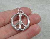 Large Peace Sign Charm - Silver Plated Peace Symbol Charm for Necklace or Bracelet