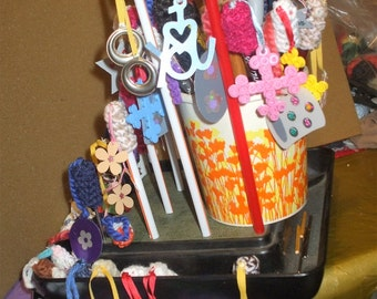 51 crocheted pencil toppers with dangles