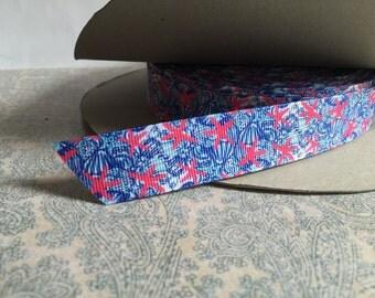 """7/8"""" Ribbon Pink Starfish Ocean Grosgrain Ribbon"""
