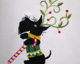 Christmas Scottie's  Embroidered Quilt Blocks