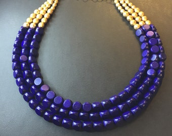 NAVY BLUE and Gold multistrand beaded necklace