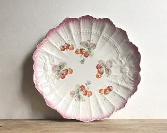 Antique Sevres Cabinet Plate Strawberries Shabby Cottage