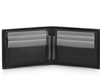 Large Bifold mens wallet with black credit card holder // Pocket size // Made from recycled bike tube // Vegan men's wallet // Made in Italy