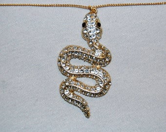 Snake Rhinestone Necklace, Large Clear Sparkling, Reptile, Vintage old jewelry