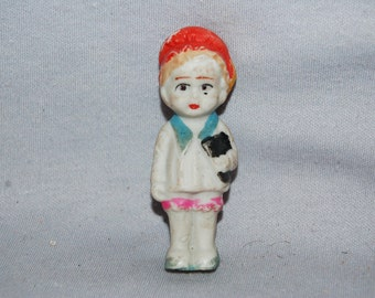 Vintage / Bisque / Doll / Student / Book / frozen charlotte / penny doll / Vintage dolls