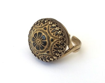 Antique Bronze Vintage Moroccan Style Ring, Textured Vintage Czech Glass Cabochon, Adjustable Ring, Also in Gold, Rose Gold, Silver