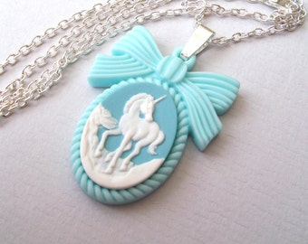 Pastel Blue Unicorn Necklace, Unicorn Cameo Necklace, Bow Necklace, White Unicorn