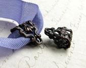 Woodland Pansy, decorative bail, folded filigree, 12x14mm black antiqued brass bail (2 bails) link, pendant holder, necklace finding