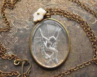 Vintage Assemblage Art Deco Winged Fairy Necklace