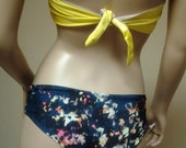 SALE New Deja Cheeky Hipster Bikini Bottoms in Navy Floral BOTTOMS  ONLY Made to Order