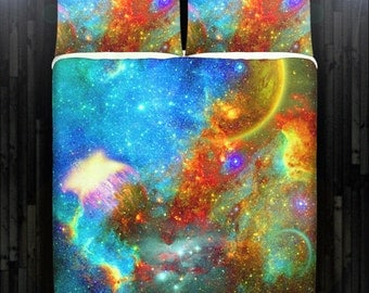 Outer Space Nebula Green Galaxy Duvet Cover Bedding Queen Size King Twin Blanket Sheet Full Double Comforter Toddler Daybed Kid Teen Dorm