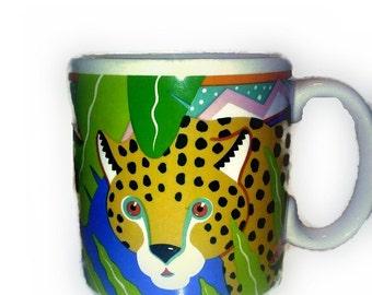 Vintage Cup Mug, Leopard Tea Coffee Mug, Jungle Theme Cats Mug, 1989 Pelzman Vandor , VisionsOfOlde