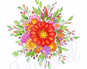 Red Gerbera Daisy Spray Floral Art Print 8 x 10 inch.