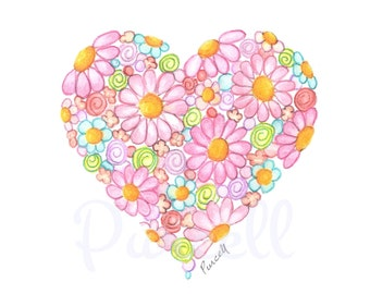 Innocent Heart- Bright Pink Daisy Heart 8 x 10 inch Floral Art Print- Wall Ary Home Decor